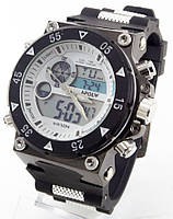Спортивные наручные часы Hpolw (белый циферблат, черный ремешок), фото 1