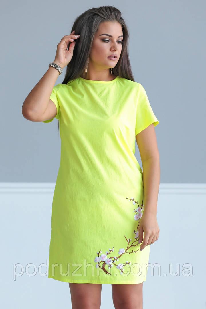 561ffbcb1ed Красивое женское летнее платье с вышивкой бенгалин 48-50