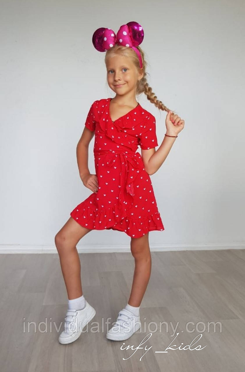 Платье для девочки с рюшами на запах