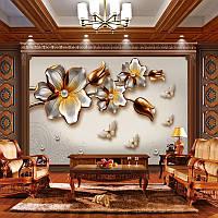 """3D фотообои """"Орхидея в золоте"""""""