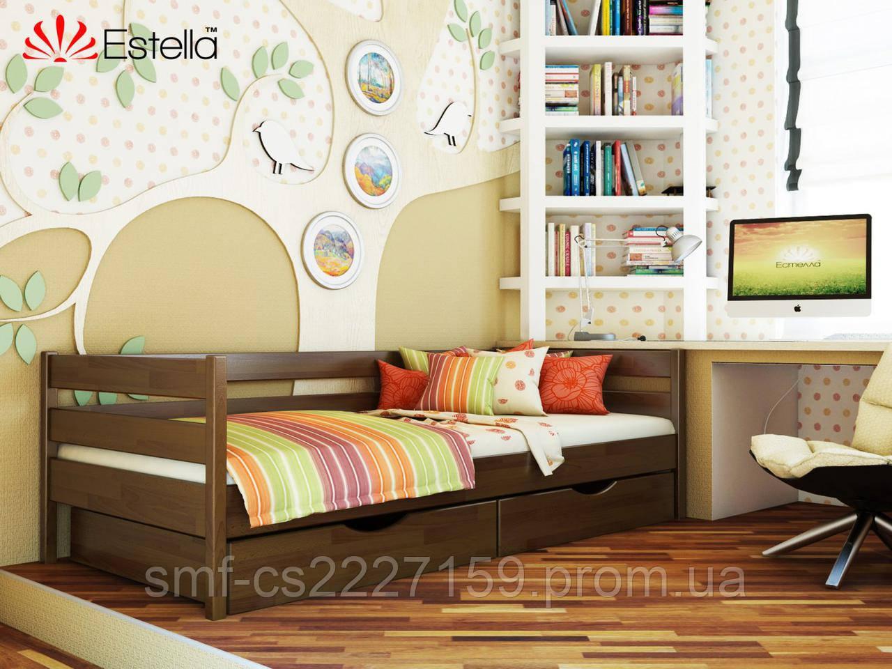Дитяче односпальне ліжко Estella Нота з натурального дерева