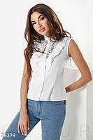 6ec706a45bc Рубашка женская летняя без рукавов с рюшами и воротником-стойка (2 цвета)-