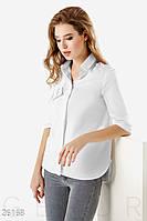 Офисная женская рубашка с пришивным декором на кокетке (2 цвета)-Белый НК/-1598