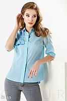 Офисная женская рубашка с пришивным декором на кокетке (2 цвета)-Голубой НК/-1598