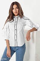 Рубашка женская с рюшами и эффектными воланами на рукавах (2 цвета)-Белый НК/-1597, фото 1