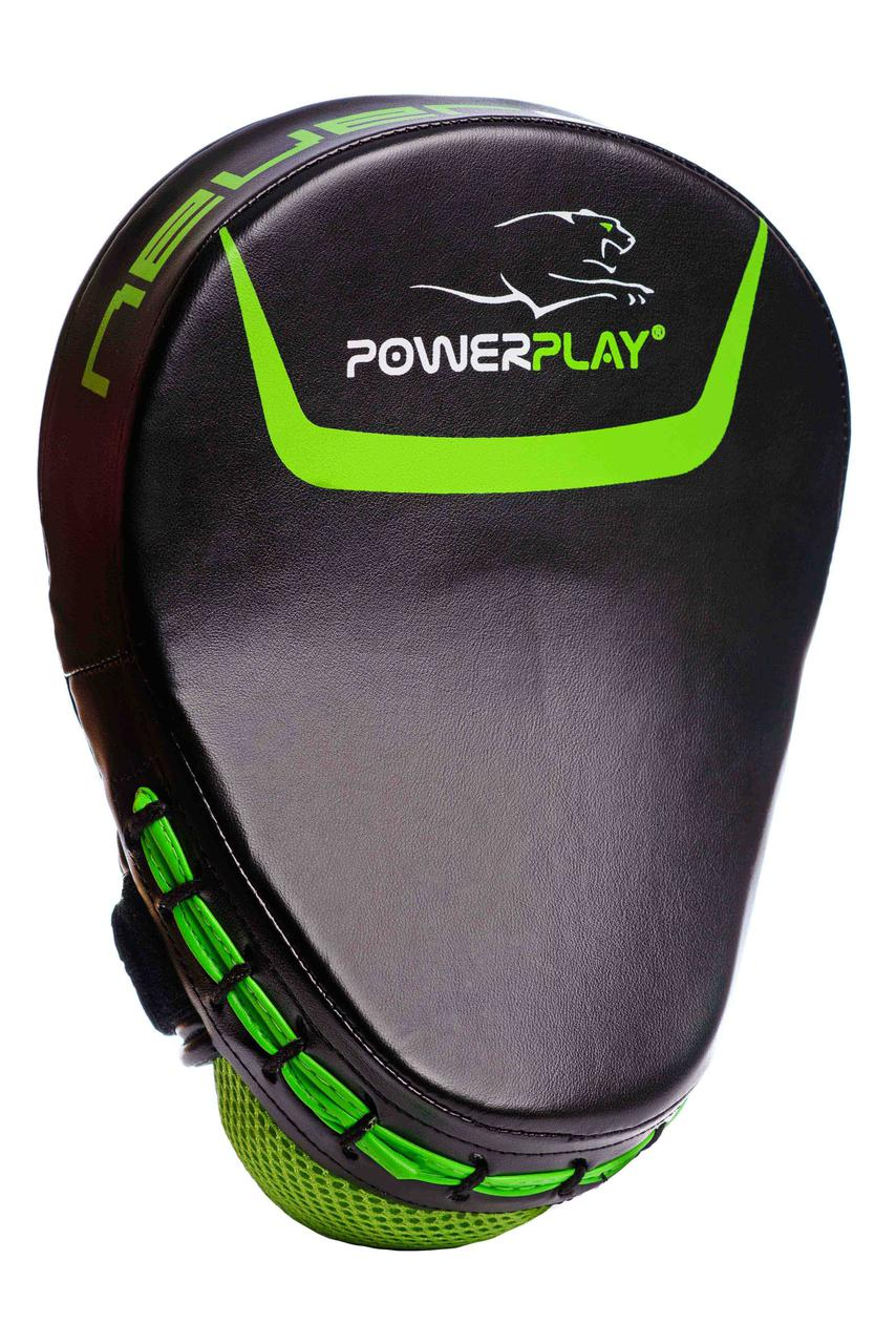 Лапы боксерские PowerPlay PU / 3041 / black-neon green