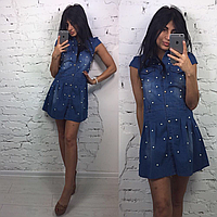 Платье джинс с бусинами, фото 1