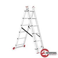 Сходи алюмінієві 3-х секційні приставні розкладні InterTool (кількість сходинок-3х6)
