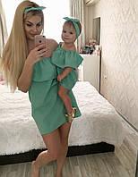 Летнее платье верх воланы мама+дочь 16710-1, фото 1