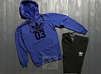 Мужской костюм спортивный с капюшоном Adidas 03 Адидас синий с черным (РЕПЛИКА)