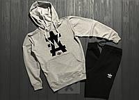 Мужской костюм спортивный с капюшоном Adidas Адидас серый с черным (РЕПЛИКА)