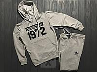 Мужской костюм спортивный с капюшоном Adidas 1972 Адидас серый (РЕПЛИКА)