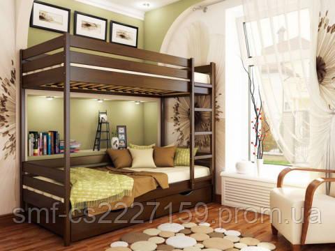 Двоповерхове дитяче ліжко Estella Дует з натурального дерева