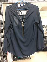 Женская темно-синяя полупрозрачная  блуза, фото 1