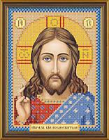 Ткань со схемой для вышивки иконы бисером Христос Спаситель