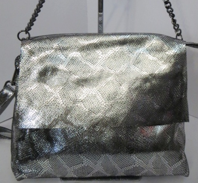 a8ec948a43fa Женский клатч серебристо - чёрного цвета, из натуральной кожи, два отделения