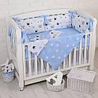 """Детская постель с 6 бортиками-подушками 33*60 см, сменной постелькой, одеялом и подушкой """"Голубые короны"""", фото 3"""