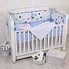 """Детская постель с 6 бортиками-подушками 33*60 см, сменной постелькой, одеялом и подушкой """"Голубые короны"""", фото 7"""