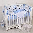 """Детская постель с 6 бортиками-подушками 33*60 см, сменной постелькой, одеялом и подушкой """"Голубые короны"""", фото 8"""