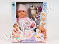 SALE-Joy Toy Кукла Мила, реагирует на аксессуары, мимика, моргает, соска, бутылка, звук, на бат-ке, в кор-ке