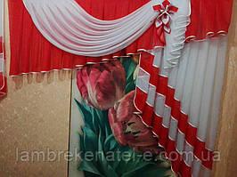 Ламбрекен на кухню красный