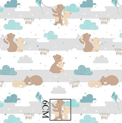 Хлопковая ткань польская мишки бежевые с мятными воздушными змеями