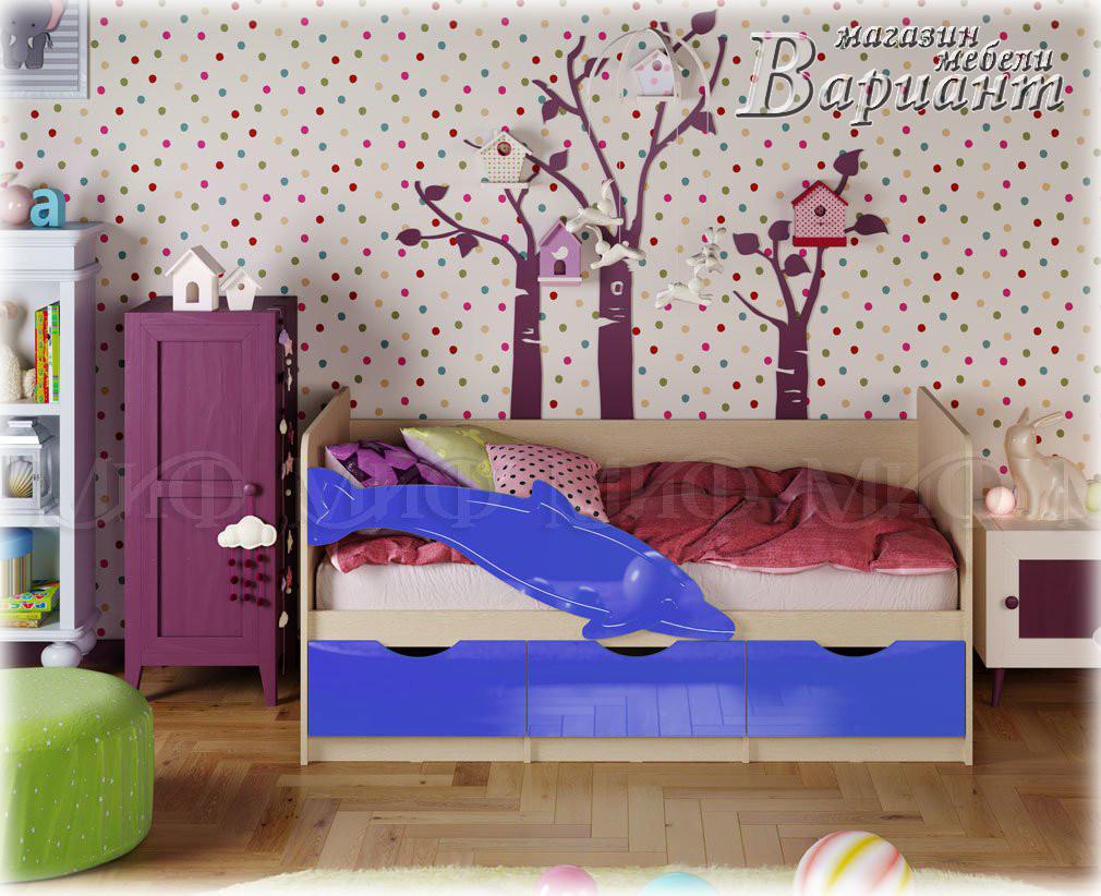 Детская кровать Дельфин-1 МДФ 1,6м матовая