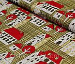 """Лоскут ткани №879   """"Домики с красными крышами"""" на коричневом фоне      , фото 2"""