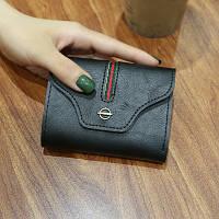 Женский кошелек на кнопке в стиле Gucci (Гуччи) маленький черный, фото 1