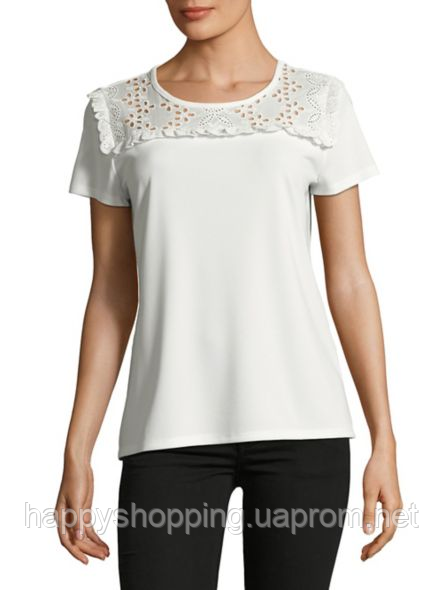 Женская белая футболка с кружевом   Karl Lagerfeld