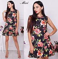Женское свободное платье с цветочным принтом (расцветки), фото 1