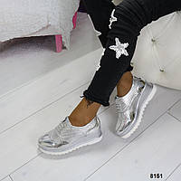 Туфли женские серебро а платформе 8151