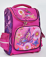 """Детский школьный рюкзак ортопедический 40х32х22см 3D """"БАБОЧКИ"""". Портфель, ранец для девочек. РОЗОВЫЙ."""
