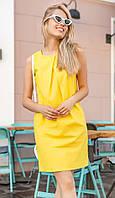 Платье льняное желтого цвета. Модель 18640. Размеры 42-46, фото 1