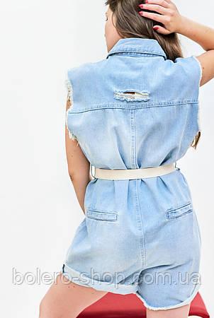 Женский комбинезон летний  шортами джинсовый , фото 2