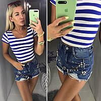 Женские шорты с блочками и жемчугом, фото 1