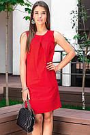 Платье льняное красного цвета. Модель 18697. Размеры 42-46, фото 1