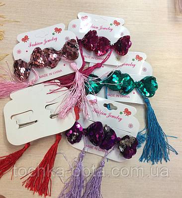 Резинки для волос с пайетками бантики