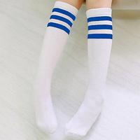 Гольфы - чулки для девочки белые с синими полосками