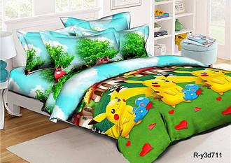 Полуторный комплект постельного белья 145х215 из ранфорса Пикачу (1.0) (50х70)