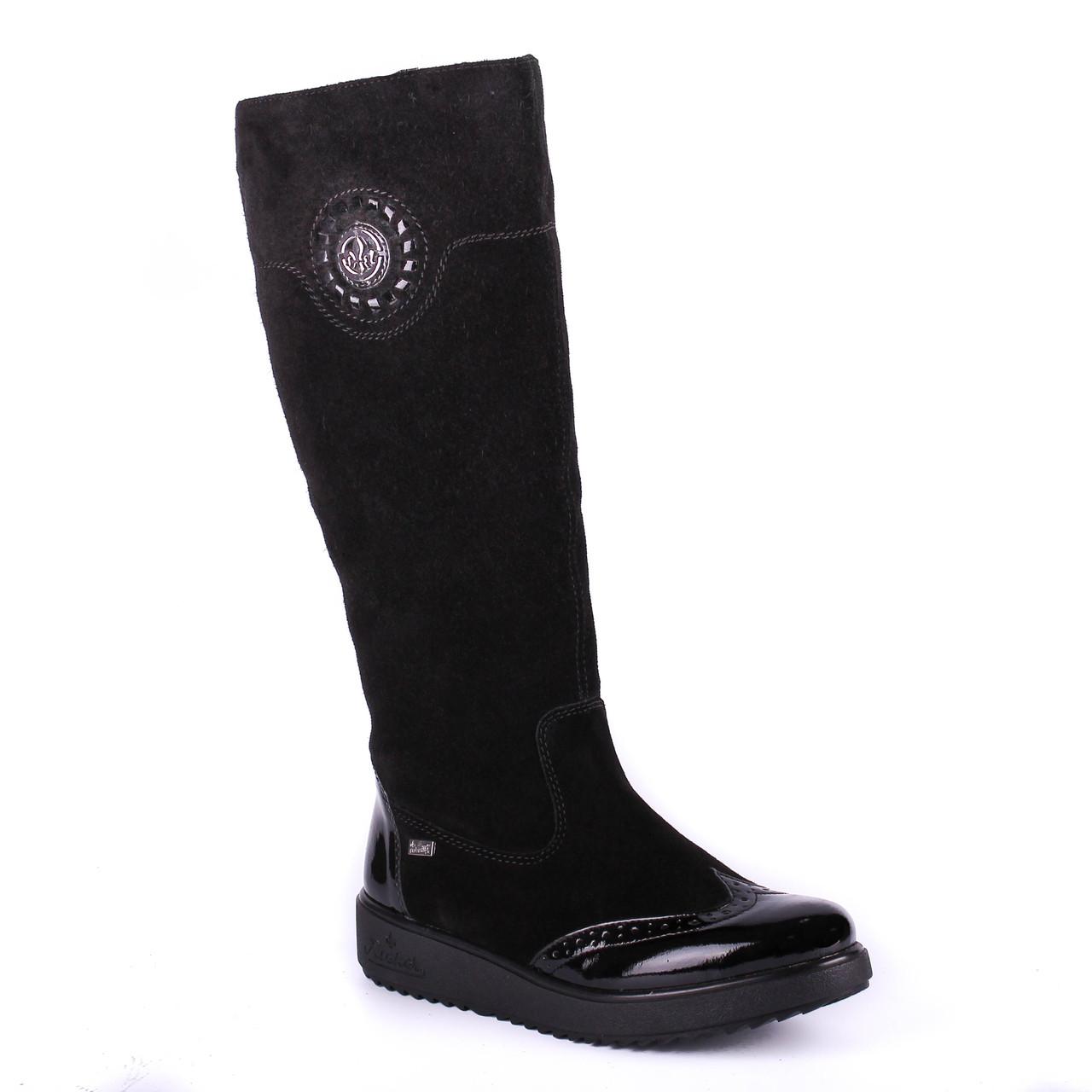 c31bab9a6 Rieker ТОП ПРОДАЖ красивые женские зимние сапоги на овчинe черного цвета -  Marigo - обувь женская