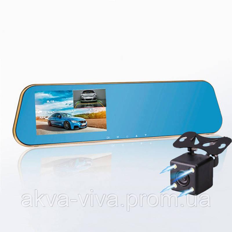 """Зеркало - видеорегистратор 4.3"""" дюйма на 2 камеры с системой видеопарковки"""
