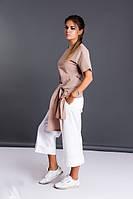 Костюм женский из льна с брюками кюлотами  (К23560), фото 1