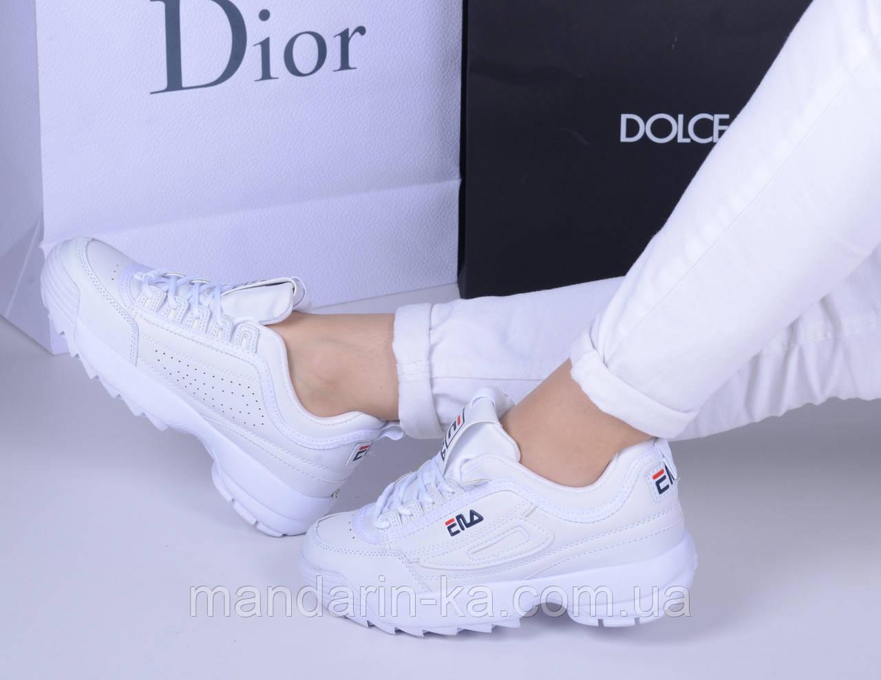 Женские кроссовки белые  фила дизраптор (реплика)