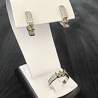 Серебряный набор с Оливковым фианитом и золотом.