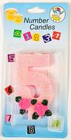 Свеча-цифра на торт 5 розовая с блестками