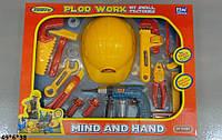 Набор инструментов с каской 8001-3, Набор строителя, Игрушечные инструменты для мальчика, Набор с дрелью