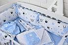 """Детская постель с 6 бортиками-подушками 33*60 см, пледом и подушкой с плюшем """"Голубые короны"""", фото 2"""