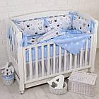 """Детская постель с 6 бортиками-подушками 33*60 см, пледом и подушкой с плюшем """"Голубые короны"""", фото 5"""