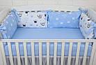 """Детская постель с 6 бортиками-подушками 33*60 см, пледом и подушкой с плюшем """"Голубые короны"""", фото 4"""